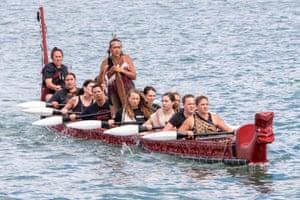 Jacinda Ardern in the canoe