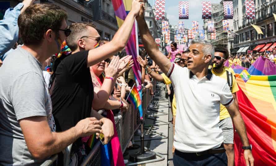 Sadiq Khan at Pride in London in 2018