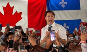 Justin Trudeau at a campaign rally in Montreal, October 2019