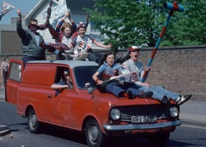 West Ham United fans celebrate down the streets of East London after their team won the FA Cup Final