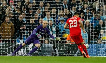 Liverpool's Emre Can scores with a Panenka.