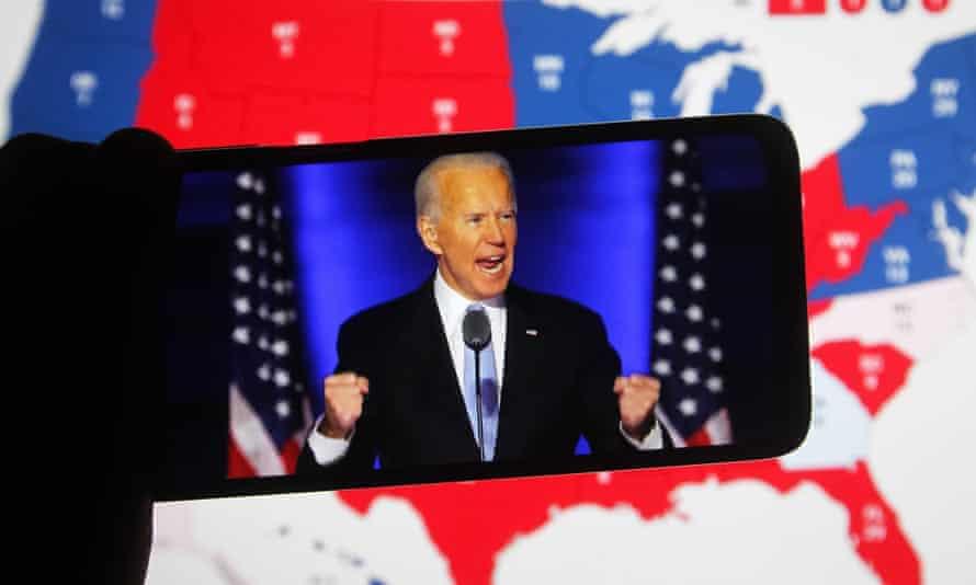 Joe Biden on a smartscreen phone