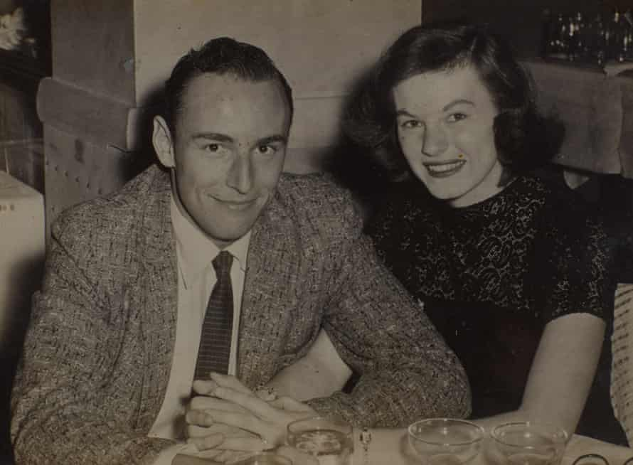 Writer George Cockcroft, aka Luke Rhinehart, with his wife Ann in 1956, minutes after he proposed to her.