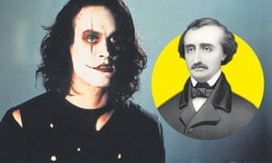 Pure gothic … Brandon Lee in The Crow and Edgar Allen Poe.