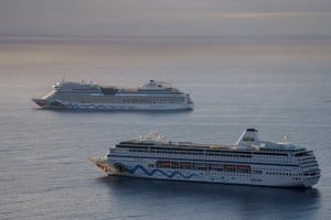 Cruise ships are seen anchored at the Bay in Santa Cruz de Tenerife, Canary Islands, Spain, on 28 April 2021.