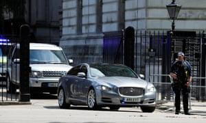 Theresa May's convoy leaving Downing Street