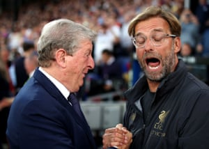 Crystal Palace manager Roy Hodgson (left) and Liverpool manager Jurgen Klopp greet one another before the match.