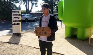 James Damore pictured outside Google wearing a 'goolag' tshirt and holding Fired For Truth sign ( his twitter handle @Fired4Truth) . Taken by a friend while James was being photographed by the Wall Street Journal.
