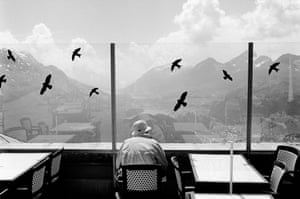 A man on an alpine restaurant's terrace looks at the panoramic mountain views. Fake birds stickers are taped on the glass window to prevent real birds flying into it