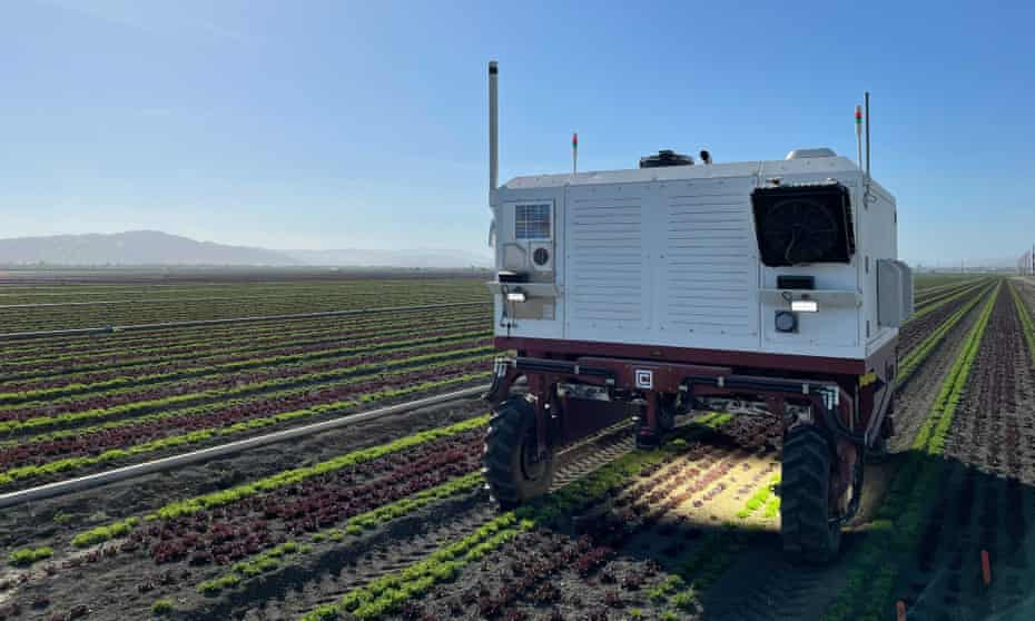 A robot made by Carbon Robotics kills weeds on farmland using lasers.