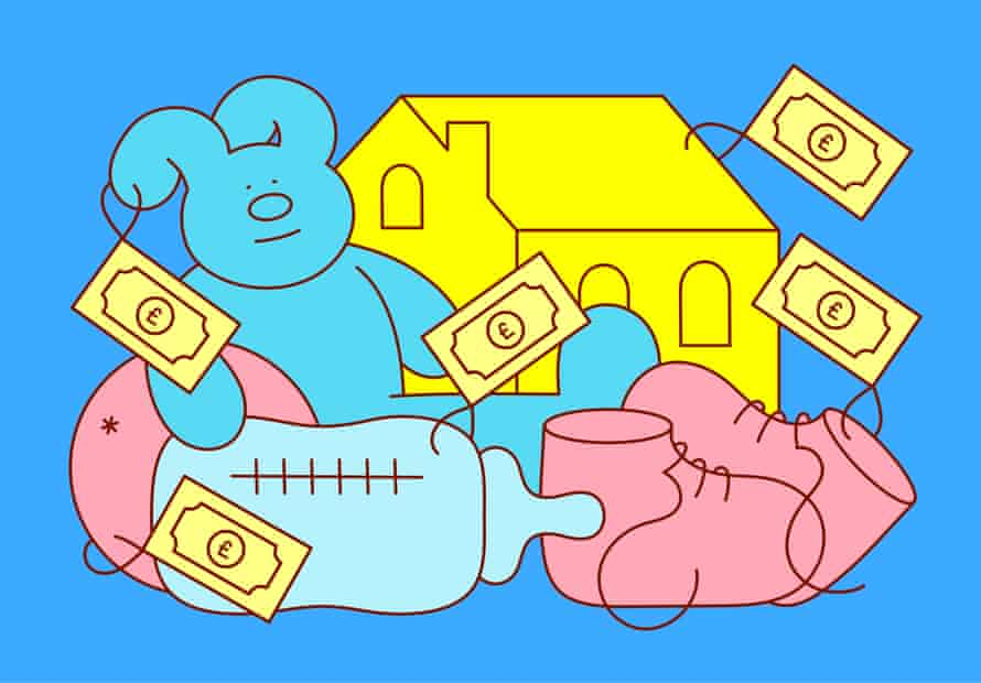 Illustration of baby items and a house with pricetags attached
