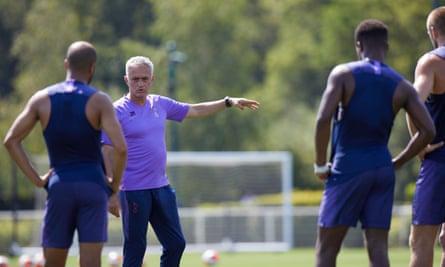 José Mourinho leads a Spurs training session