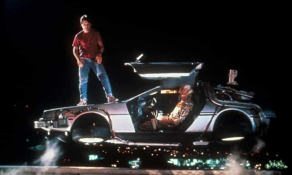 From left: Michael J Fox and Christopher Lloyd in Back to the Future Part II (1989).