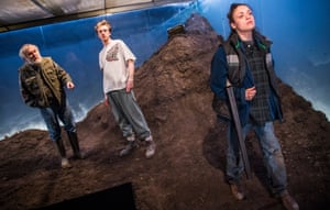 Alan Williams as Mick, Alex Austin as Ben and Rochenda Sandall as Anna in Gundog by Simon Longman at the Royal Court, directed by Vicky Featherstone.