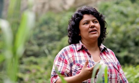 Berta Caceres at the banks of the Gualcarque River in the Rio Blanco region of western Honduras.