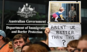 Pro-refugee demonstrators rally outside Australia's Department of Immigration and Border Protection in Brisbane.