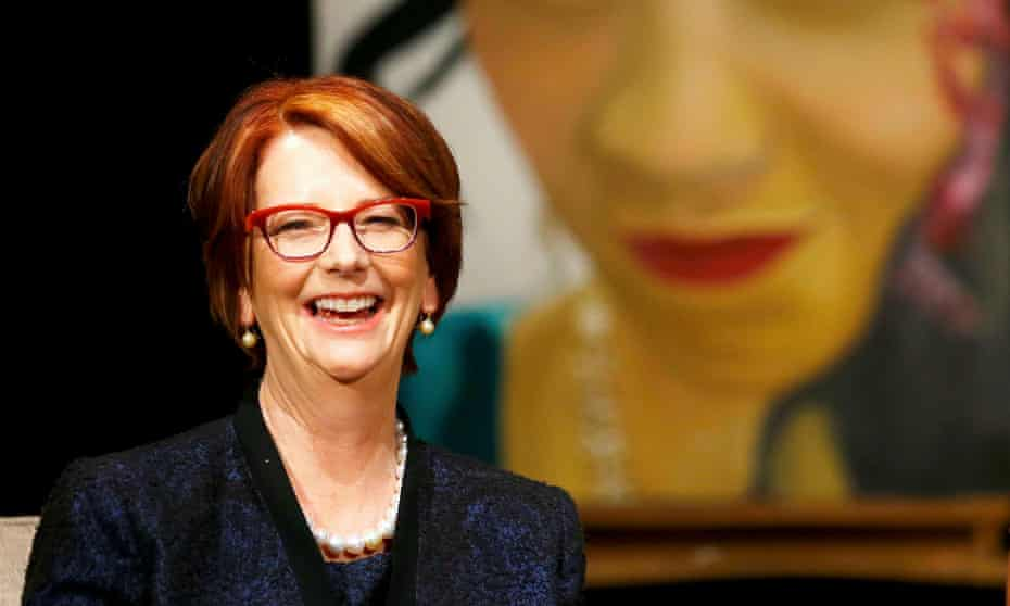 Australia's former Prime Minister Julia Gillard speaks to pupils during a visit to Mulberry school for girls in London on June 16, 2015. Now, out of office, says Gillard, 'I am able to examine the role of the media without worrying about the indignant harrumphing that emanates from many journalists and commentators when you do so.'