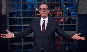 """Stephen Colbert: """"I am everything. I am nothing. I am old. I am young. I am ever-ending, just begun. Behold, I am Rudy, destroyer of clients."""""""