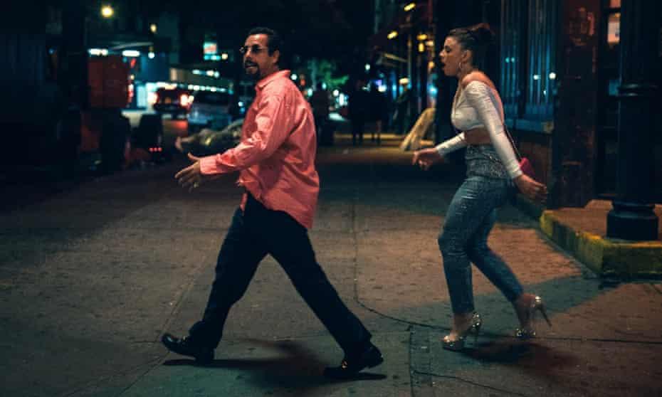 Adam Sandler and Julia Fox in Uncut Gems.