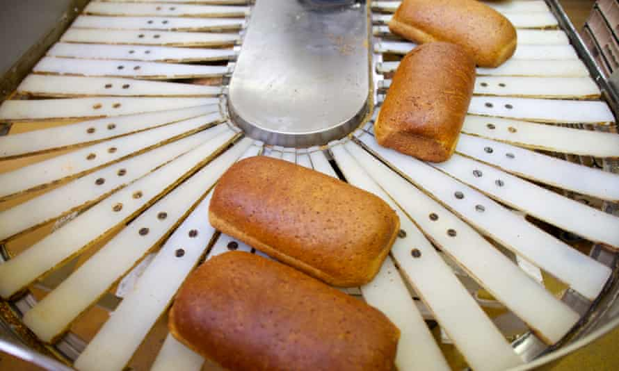 Bread on a a production line at Greggs, Leeds.