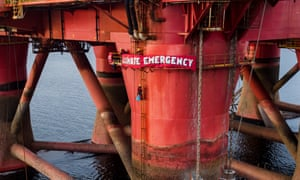 Greenpeace activists on a BP-operated oil rig in Cromarty Firth, Scotland.