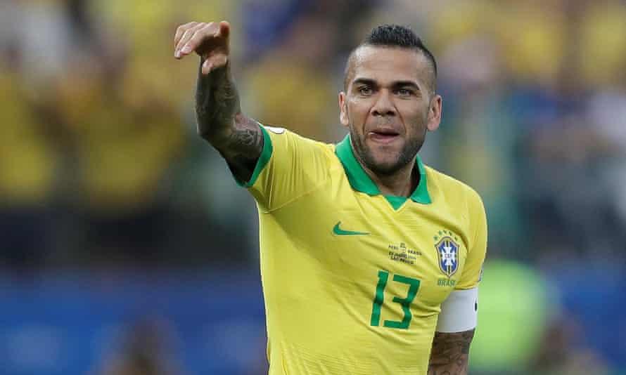 Dani Alves celebrates after scoring against Peru at the Copa América.