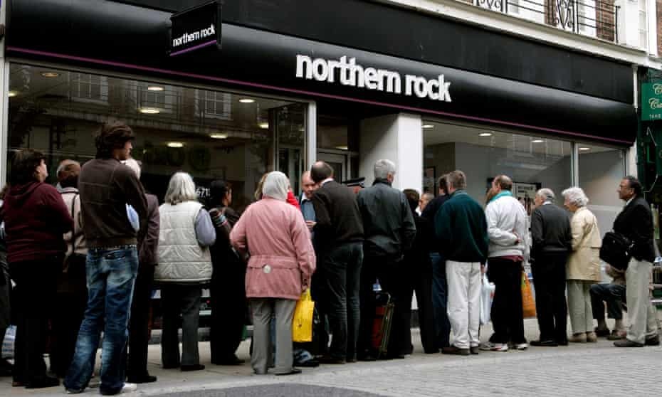 Customers queue outside a Northern Rock branch in September 2007