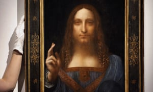 Photo shows Leonardo da Vinci's Salvator Mundi on display at Christie's auction rooms in London