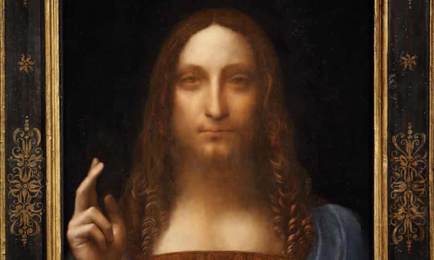 The Salvator Mundi on display at Christie's auction rooms in London.