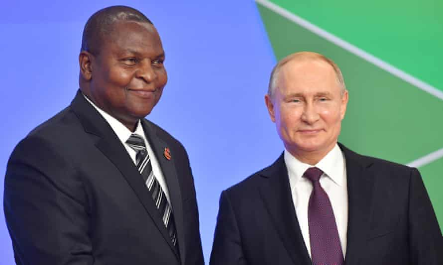 Faustin-Archange Touadéra and Vladimir Putin at the Russia-Africa summit.
