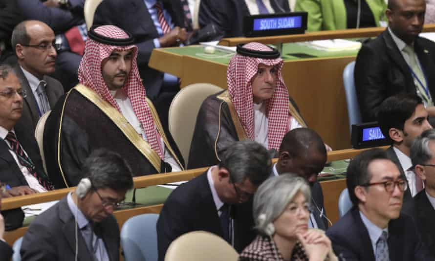 Saudi Arabia's foreign minister Adel Al-Jubeir Tuesday at the UN headquarters in New York, New York.