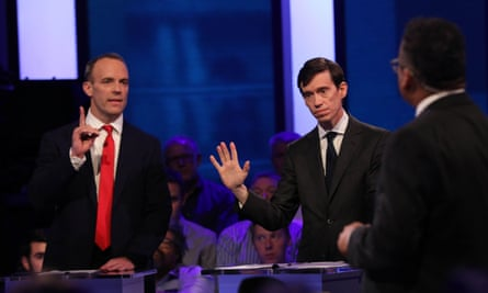Dominic Raab seeks to interrupt Rory Stewart's display of humility.