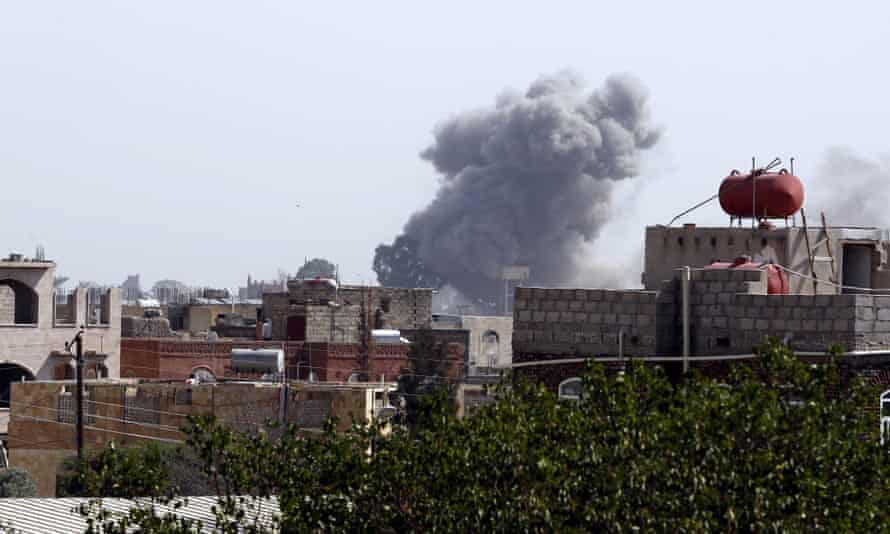Smoke rises after an airstrike targeting Houthi military positions in Sana'a, Yemen, in August.