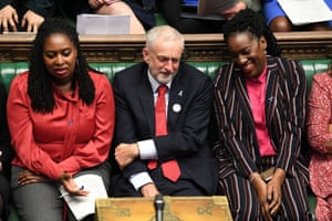 Dawn Butler on Labour's front bench in October 2018 with Jeremy Corbyn, then the leader of the party, and Kate Osamor, then the shadow secretary for international development