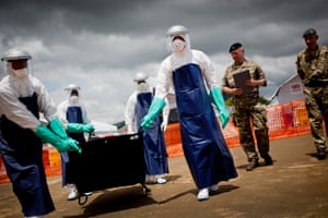 Members of the British military demonstrate an emergency field Ebola treatment centre in Freetown, Sierra Leone