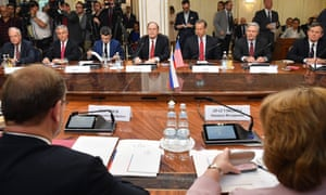 Richard Shelby and his colleagues meet with members of the Russian Federation Council in Moscow on Tuesday.