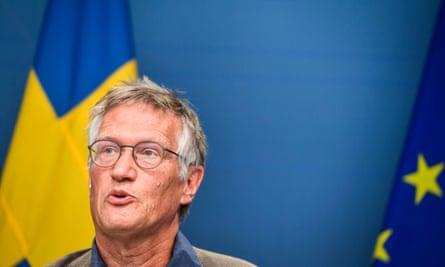 State epidemiologist Anders Tegnell, of the Swedish Public Health Agency, speaks at a conference.