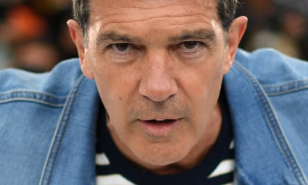 Antonio Banderas poses during a photocall for the film Pain and Glory at the 72nd Cannes film festival in France.