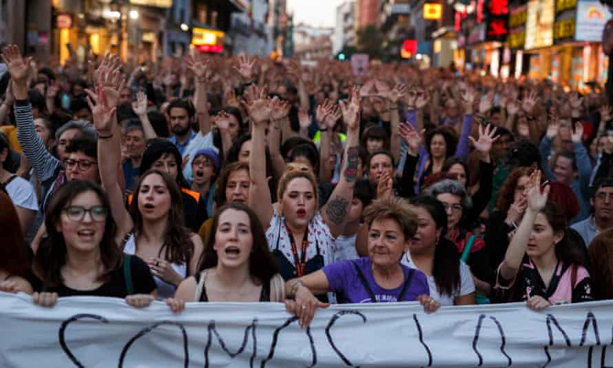 People protest against the verdict of the 'wolf pack' gang rape case in Madrid in 2018.