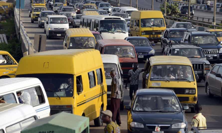 Motorists are stuck in traffic jam on 13 October 2014, Lagos, Nigeria