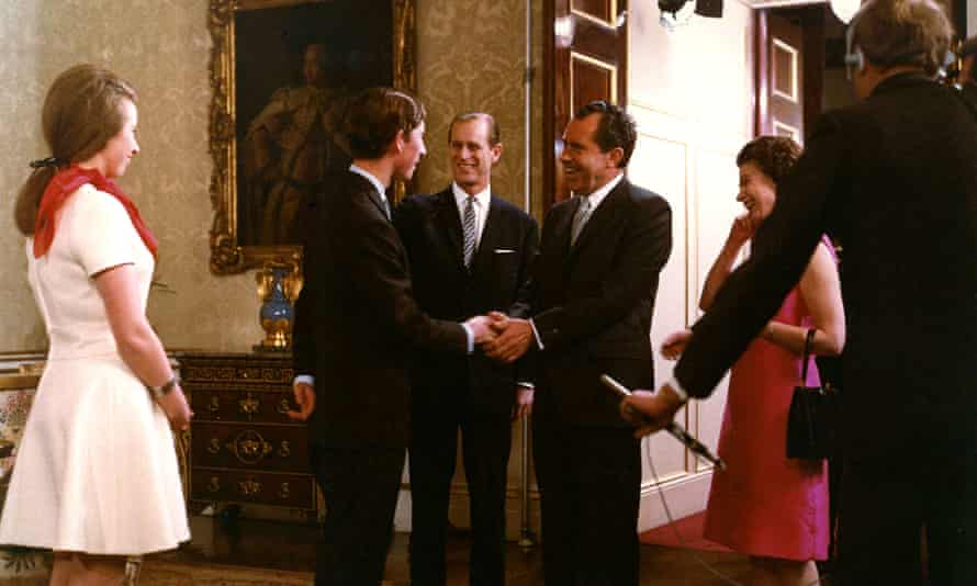 Dropping in … the royals welcome President Richard Nixon to Buckingham Palace.