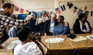 Labour leader Jeremy Corbyn with Windrush pensioners in Ilford