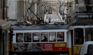 Trams in Lisbon amid the outbreak of coronavirus.