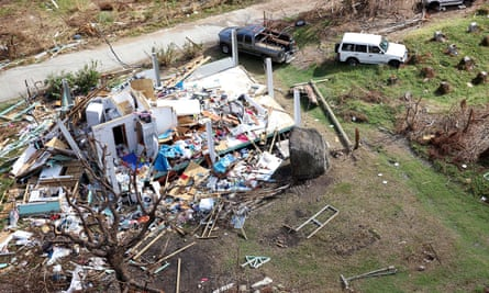 Storm damage is seen from the air after hurricane Irma passed over Tortola