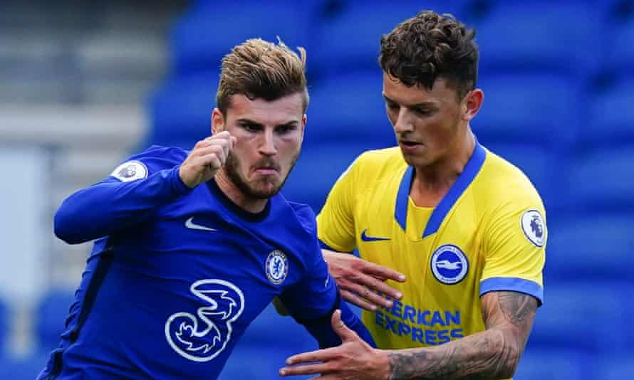 Ben White (right) battles with Timo Werner during Brighton's friendly against Chelsea.