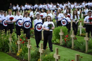 Young people carried wreaths and flowers at Thiepval