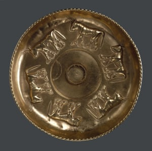 Golden bowl decorated with bulls and dating from 600BC, found at a tomb in the hill village of Sant'Angelo Muxaro, near Agrigento.