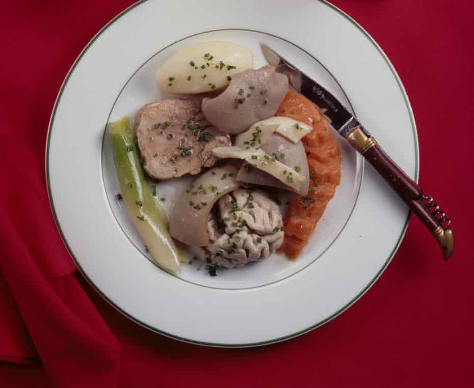 A dish of tête de veau, or calf's head.