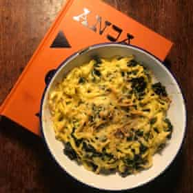 Anja Dunk's spatzle with chard, sour cream and smoked cheese.