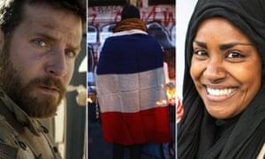 Bradley Cooper as Chris Kyle in American Sniper; a mourner after the Paris terrorist attacks; Nadiya Hussain, winner of the Great British Bake Off.
